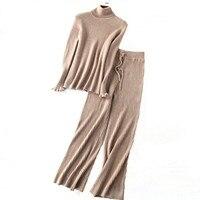 Кашемировая шерсть темно полосатый вязаный женский свитер Костюмы Водолазка пуловер широкие брюки 2 шт./компл. Европейский размер S/M/L/XL Розн