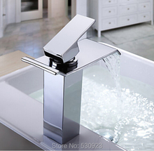 Newly Bathroom Basin Sink Faucet Waterfall Widespread Chrome Polish Single Handle Single Hole Mixer Tap Deck Mount