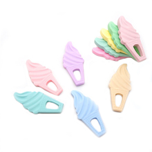 Chenkai 10PCS BPA Free Food Grade Silicone Ice Cream Teether Chewable Pacifier Pendant For Infant Nursing Necklace Accessories