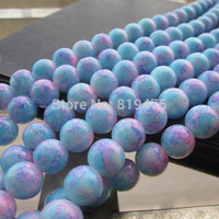 10mm 80pcs Mottled Printing Glass Beads Simply Blue Pink Color Bohemia beads