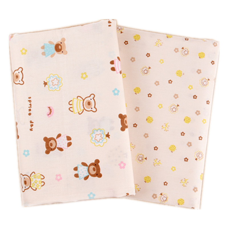 2 Pieces Bed Linen Quilting Cotton Cartoon Bear Tissues Diy Craft Flowers Fabric Artificial Pillow Cover Kids Tilda For Clothing