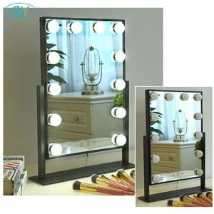 Image 3 - Miroir inclus, lampe de vanité tactile, lampe de table à intensité réglable, hollywood, pour maquillage et table lumineuse