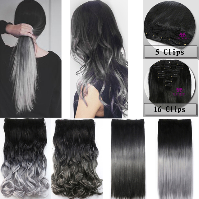Hot Sale Silver Gray Ombre Color Clip In Hair Extensions 2 Style 5clips And 16clips Fashion