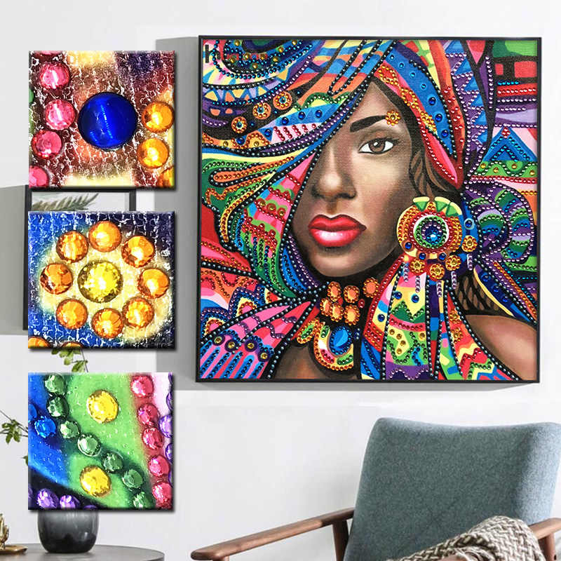 RUBOS DIY 5D Diamond Embroidery African Colorful Beauty Girl Big Bead Diamond Painting Mosaic Pearl 3D Crystal Sale Hobby Decor