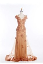 Vintage Gerade Pailletten Abendkleid 2016 Perlen Kristall Appliques Pailletten V-ausschnitt Bodenlangen Formale Abendkleider