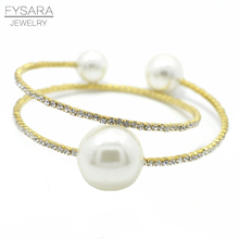 FYSARA Luxury Brand Multi Layer Bangles for Women Jewelry Wedding Bridal Imitation Pearls Jewelry Charms  Full Crystals Bracelet