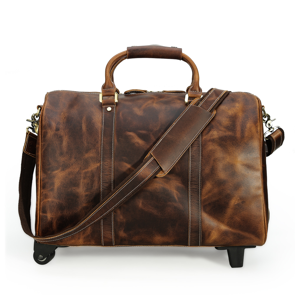 Tiding Genuine Leather Travel Luggage Bags On Wheels Cowhide Suitcase Retro Style Rolling Duffle Bag Large