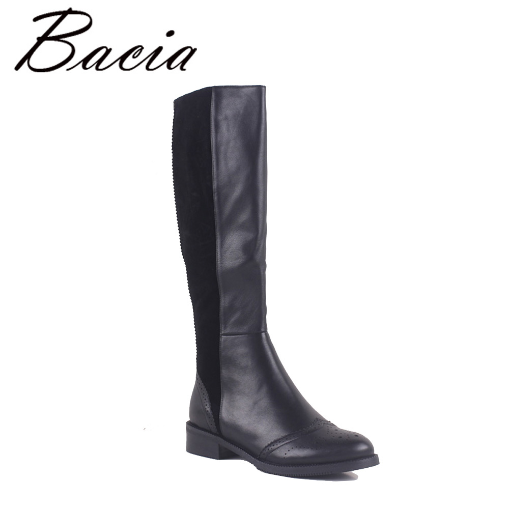 Bacia 100% Naturel En Cuir chaussures femme Genou-Haute Bout Rond Carré Femmes Bottes Hiver Chaud Laine Fourrure Bottes De Neige taille 35-41 MC019