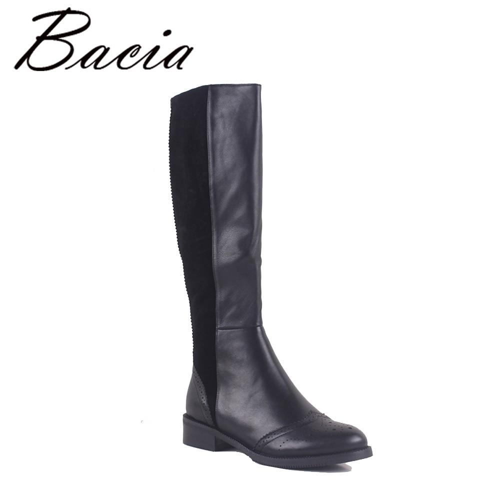 Bacia/100% натуральная кожа женская обувь сапоги до колена круглый носок квадратный Для женщин зимние сапоги теплая шерсть зимние ботинки на ме