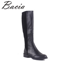 Фотография Bacia 100% Natural Leather shoes woman  Knee-High Round Toe Square Women Boots Winter Warm Wool Fur Snow Boots Size 35-41 MC019