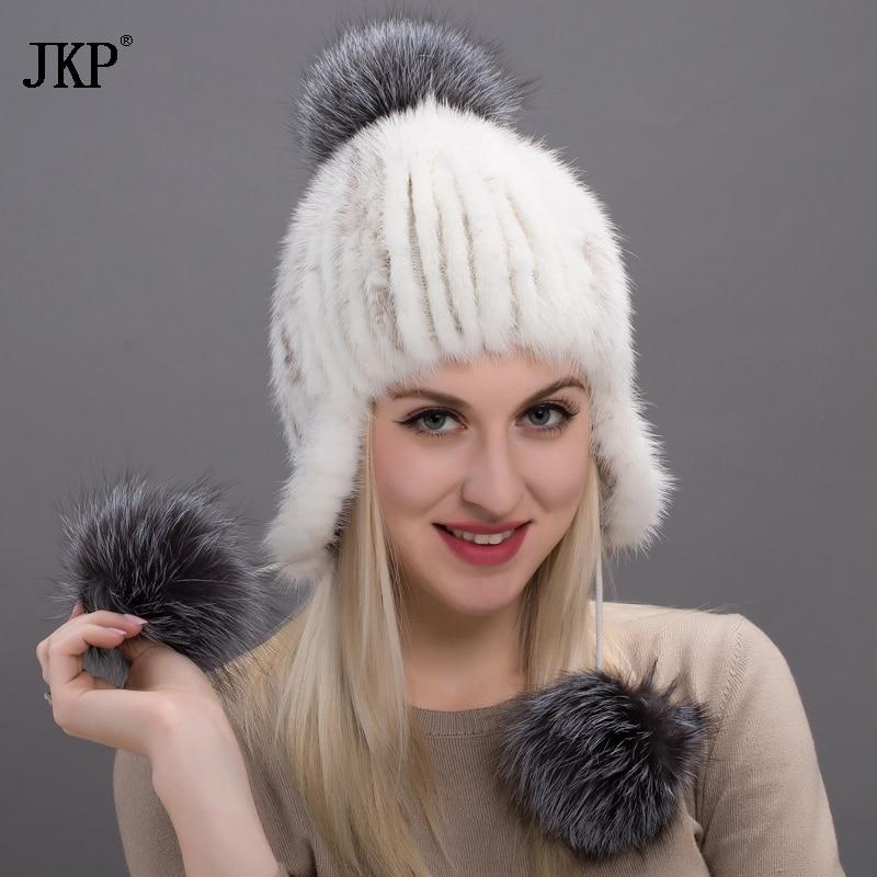 JKP luxe femmes marque de mode chapeaux vison fourrure chapeau pour femmes fourrure bonnets hiver casquettes femmes élastique tricot casquette DHY17-13