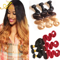 Peruvian Virgin Hair Body Wave Ombre Hair Extensions Wet and Wavy Ombre Human Hair Blonde 100% Human Hair Weave Bundles