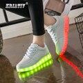 KRIATIV luminoso de neón Led de luz intermitente entrenador Flasher brillante zapatillas de deporte blanco de zapatos luminosa con usb para niño y chica