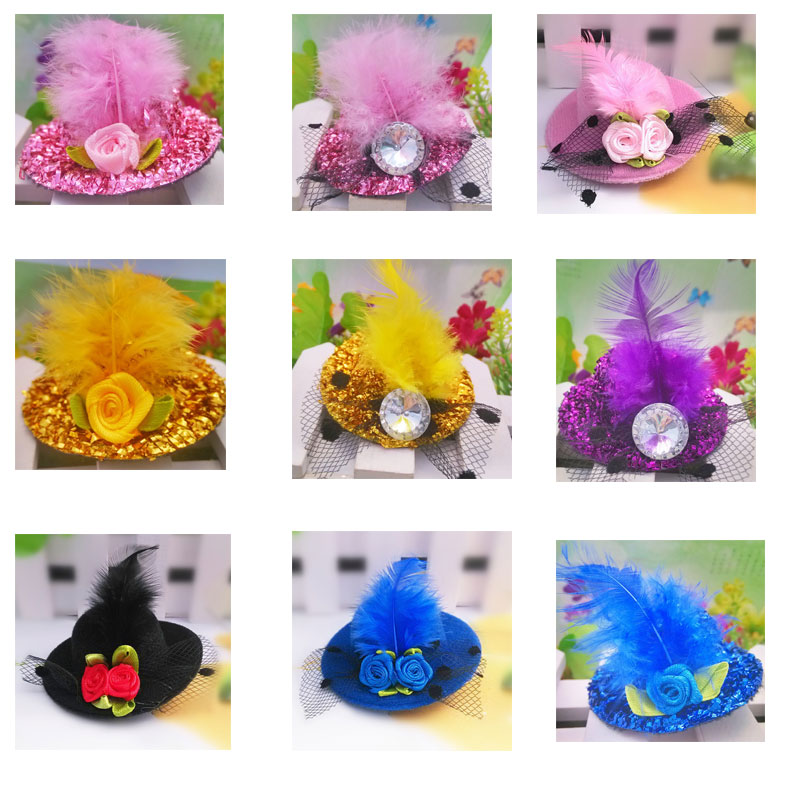 M MISM Cute Rhinestones Feather Flower Hat Hairgrip For Girls Children Kids Hairpins Hair Accessories Hair Clips Fascinator shanfu women zebra stripe sinamay fascinator feather headband fashion lady hair accessories blue sfc12441