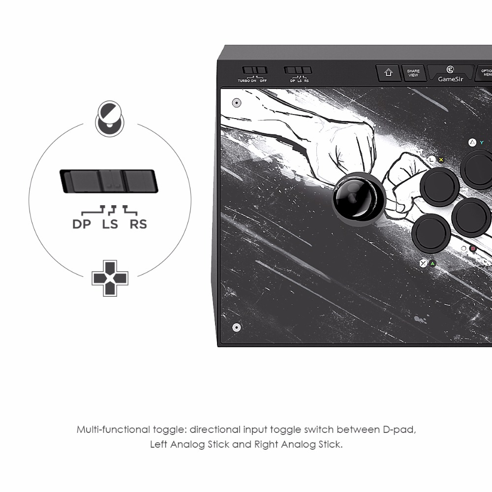 GameSir C2 fightstick for Game controller PS4, PS4 Slim, PS4 Pro, Xbox One, Xbox One S, PC & Android Free Shipping