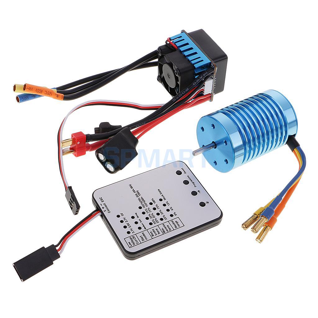 3930KV Sensorless Brushless Motor Waterproof+45A ESC+Program Card for 1/10 RC Car Truck f540 3930kv brushless motor 45a esc led program card for 1 10 1 12 rc car