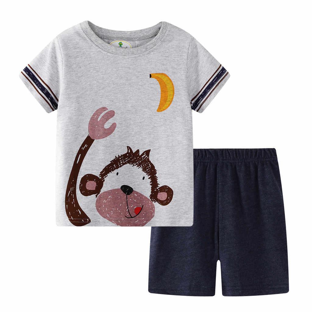 CHAMSGEND niño bebé niños ropa de verano mono estampado Tops camisa con pantalones rayados conjuntos 24M-7Y conjuntos 19June12