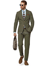 HOT SELLING 100% cotton army green 2 piece(jacket t+pants) two buttons notch lapel with hand stitching cotton suit