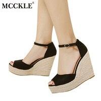 MCCKLE Mody Wysoka Jakość Wygodne Kliny Kobiety Sandały Czeski Dla Pań Buty Wysokiej Platformy Open Toe Plus Size