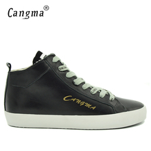 CANGMA Italy Brand Durable Genuine Leather Sneakers Mens Vintage Adult Casual Shoes Mid Lace Up Male Fashion Man Black Shoes(China)