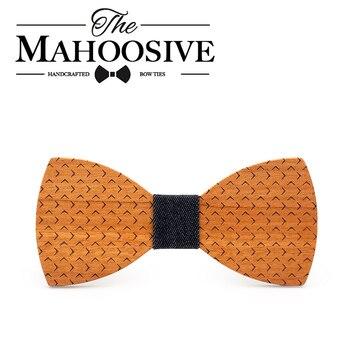 Mahoosive 2018 Nowy Formalna Party Akcesoria Odzieżowe Męskie Krawaty Spot Styl Multicolor Butterfly Bowtie Poliester Dot panów drewna