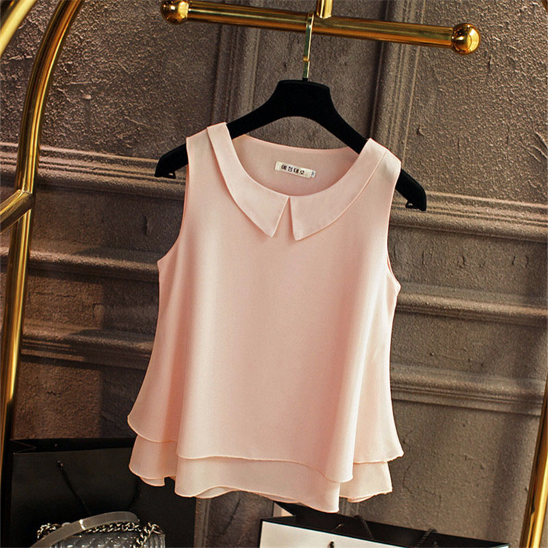 Multi-layer Women Spring Summer Style Chiffon Blouses Shirts Lady Casual Sleeveless Peter Pan Collar Blusas Tops DD1822 9
