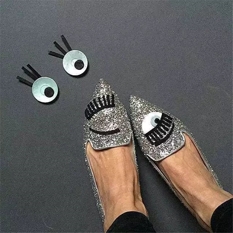 Silver Glitter Big Eyes Pointy Toe Flats Spring Summer Follwwith Brand Women Shoes Flats & Loafers Ladies Slip on Shoes Woman women flats shoes woman spring glitter casual loafers black golden bling glitter flats lazy shoes size 36 40