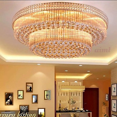 LED Modern Luxury Chandeliers Crystal Living Room LED Absorb Dome Light Diameter 60CM Contains 6 LED Bulbs