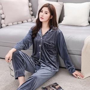 Image 5 - BZEL Warm Couple Pajamas Set Turn down Collar Long Sleeve Sleepwear Soft Leisure Pajama For Female Lovers Clothes Pijama Femme