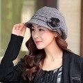 Boinas chapéus de inverno das mulheres quentes da moda flor cap aeromoça chapéu de lã para as mulheres boinas chapéus