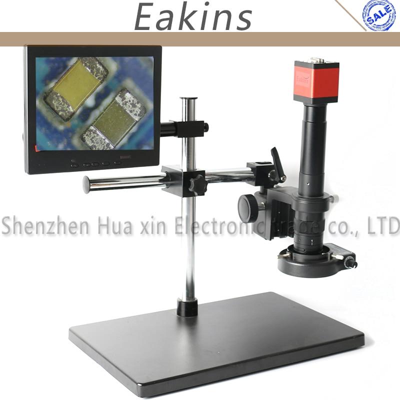 13MP 720P HDMI VGA Industry Video Microscope Camera+Big Boom Stand Universal Bracket+180X 300X C-MOUNT Lens+144 LED Light+8 LCD