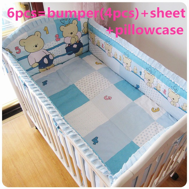Promotion! 6PCS Blue Bear baby bedding set crib bedding sets Cot Crib Bedding Set (bumpers+sheet+pillow cover) promotion 6pcs bear baby crib bedding set crib sets 100