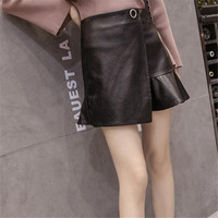 Europe and America high waist pu skirt black sexy bag hip skirt autumn and winter paragraph PU leather A word fishtail skirt