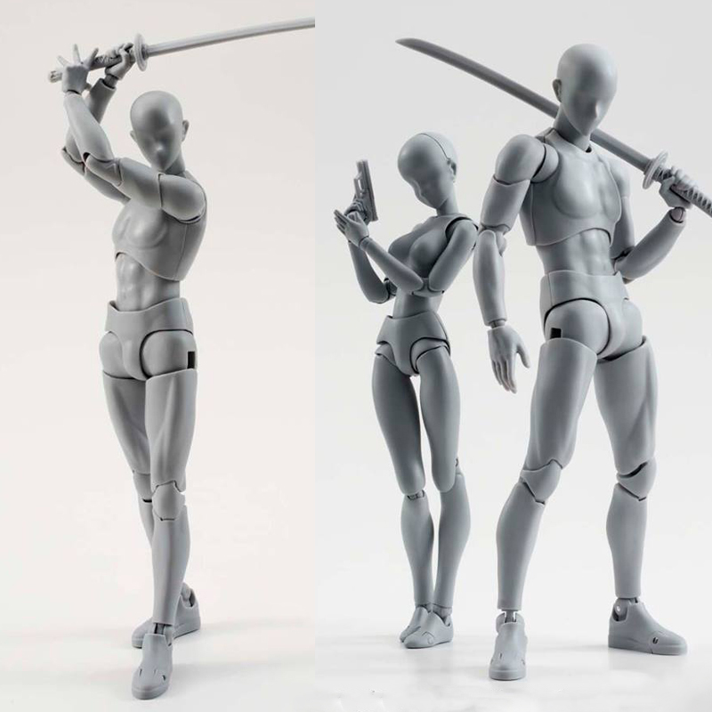 14cm artist Art painting Anime figure SHF Sketch Draw Male Female Movable body chan joint Action Figure Toy model draw Mannequin image