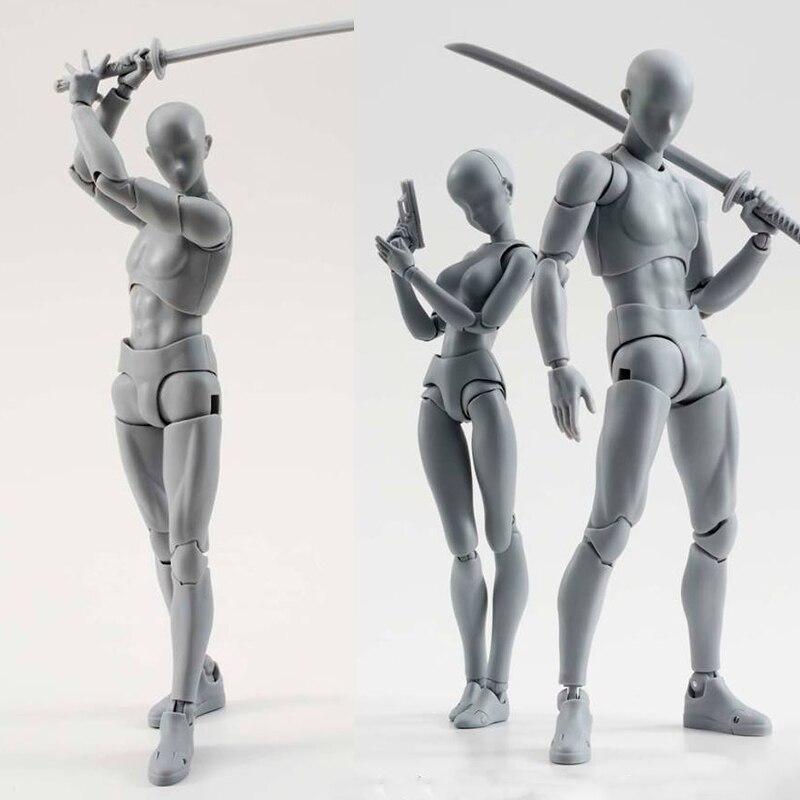 Dibujo artístico de 14 cm figura de Anime Sketch dibujo Masculino Femenino cuerpo móvil chan figura de acción conjunta modelo de juguete dibujo maniquí