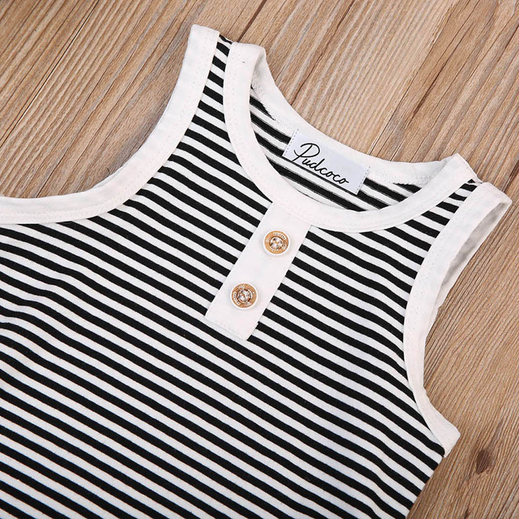 Toddler Kids Baby Boy Clothing Sleeveless Striped Vest Tops+Shorts Pants 2PCS Outfit Casual Summer Clothes Set 0-4T