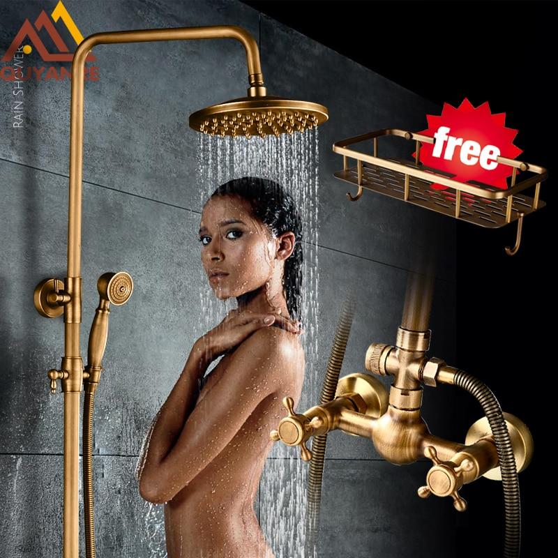 Quyanre Antique Brass Shower Faucets Set 8 Rainfall Shower Head Commodity Shelf Dual Handle Mixer Tap