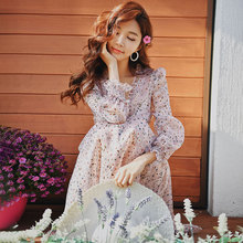 Dabuwawa Spring V-Neck Floral Print Chiffon Dress for Girls Lady Women 2019 New Puff Sleeve Long Ruffles Midi Dresses DN1ADR019