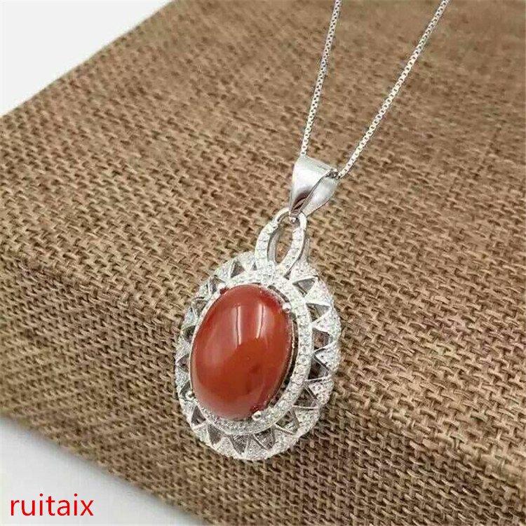 KJJEAXCMY boutique jewels 925 sterling silver inlays natural south red agate ladies long pendant oval inlaid diamondsKJJEAXCMY boutique jewels 925 sterling silver inlays natural south red agate ladies long pendant oval inlaid diamonds