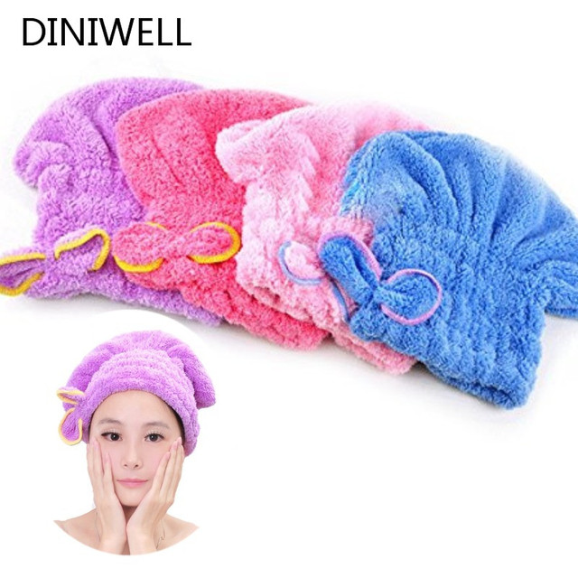 Womens Girls Lady's Magic Quick Dry Bath Hair Drying Towel Head Wrap Hat Makeup cosmetics Cap Bathing Tool TQ-BR012