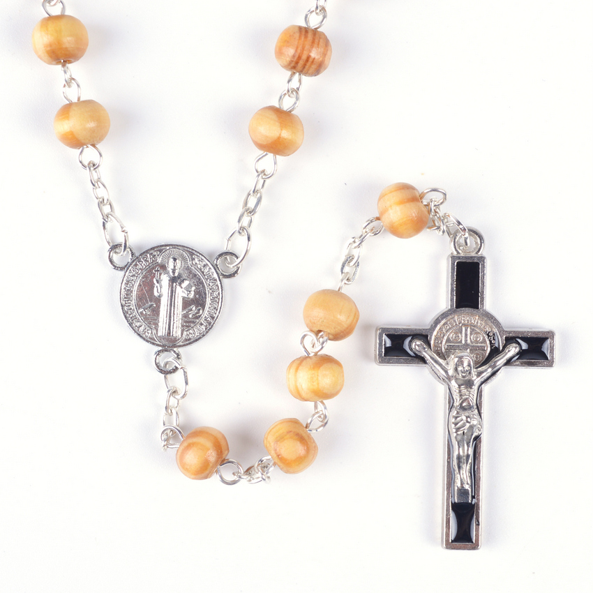 Religious Small Sized Wood Beads St Benedict Catholic Rosary Necklace