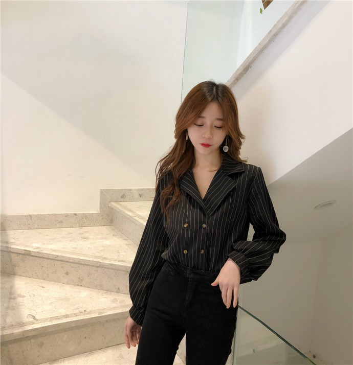 Shirts Women Simple Retro Striped All-match Double-breasted Korean Style Students Notched Womens Elegant Blouses Loose Chic 2019 16