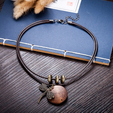 Fashion Choker Woman Necklaces vintage Jewelry Dragonfly Wooden pendant Long necklace for women collares mujer kolye