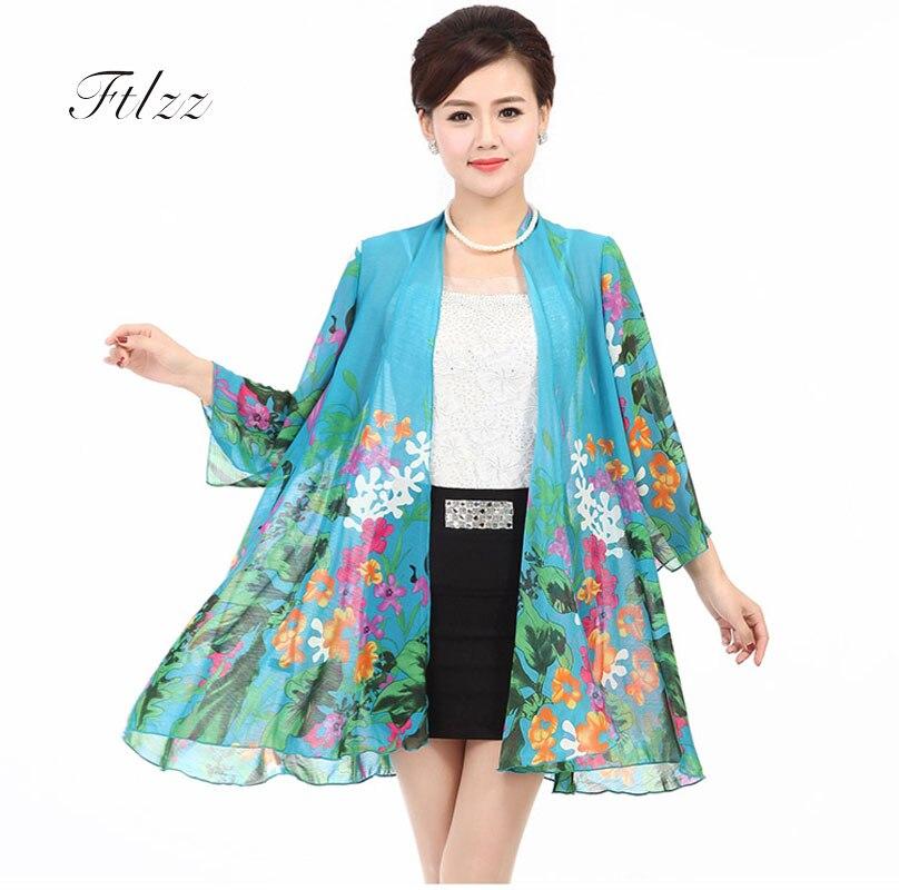 06bdea64c34dd New 2018 Woman Plus Size 4xl Thin Jacket Summer Fashion 3 4 Sleeve Vintage  Floral Print Coat Women Medium Long Chiffon Outerwear-in Basic Jackets from  ...