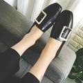 Осень-Весна Плоские Ню обувь женская Студент стиль Случайные Квадратных ног Старинные полуботинки Черного и Коричневого цветов