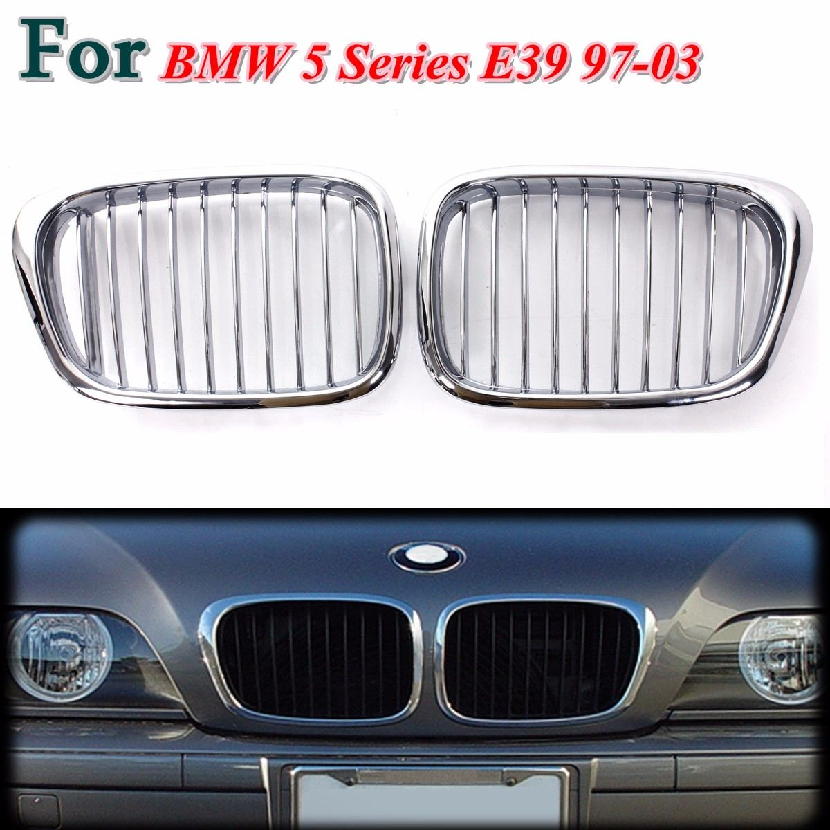Plated Chrome Front Hood Kidney Grilles Insert For BMW5 SeriesE39 97 03