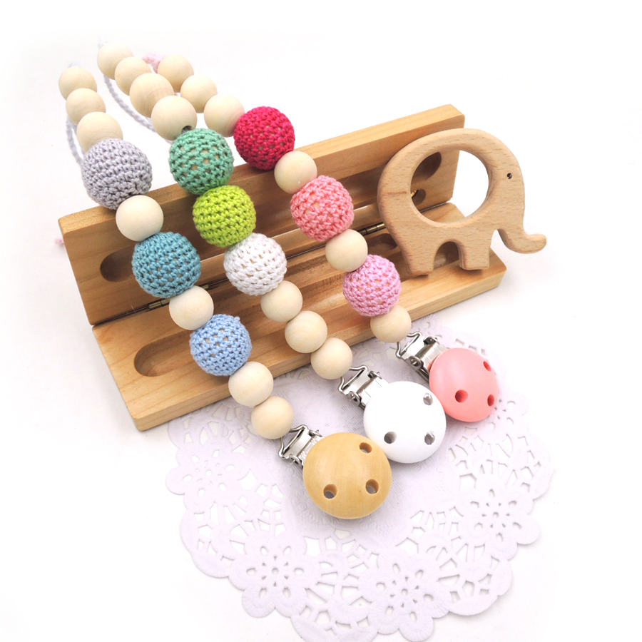 Set of 3 pink blue green baby toy pacifier clip + one elephant teether dummy holder natural color baby girl gift NT179
