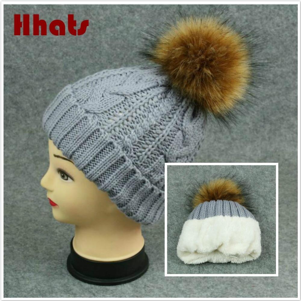 women winter hat thick warm fleece lining winter   skullies     beanies   fashion cable knitted female cap girl fleece inside fur bonnet
