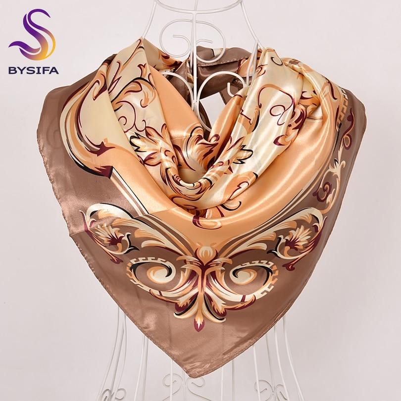 [BYSIFA] Women Khaki Square   Scarves     Wraps   New Design Satin Silk   Scarf   Shawl Spring Autumn Ladies Neck   Scarf   Cape 90*90cm