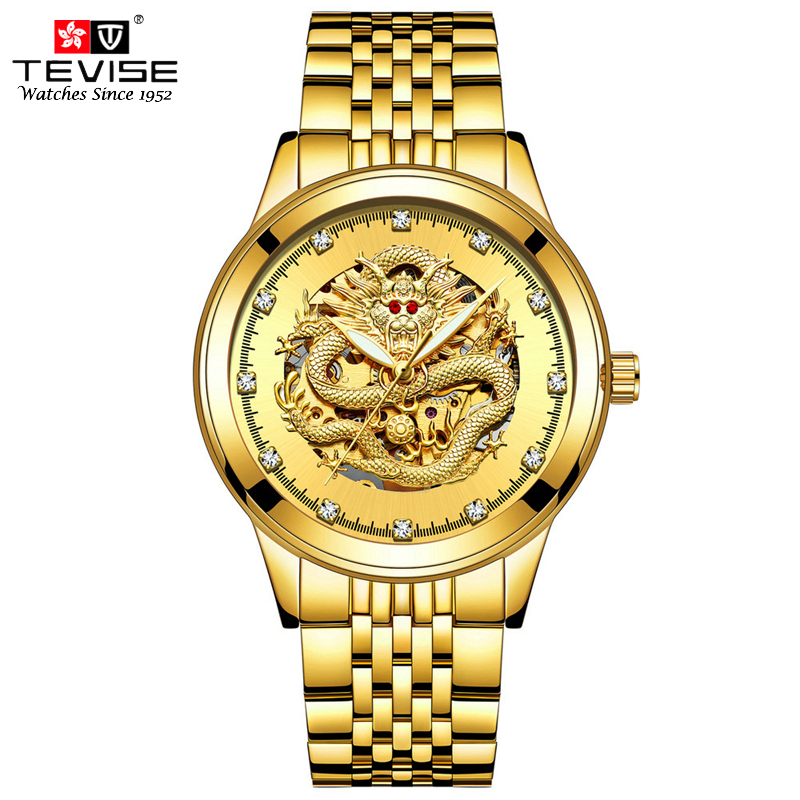 TEVISE Men Luxury Gold Automatic Watch Self-Wind Mechanical Watches Luminous Analog Dragon Dial Skeleton Wristwatch Montre Homme цена